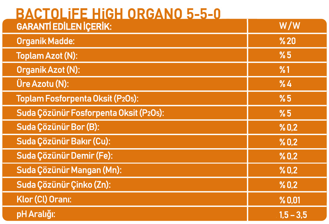 BACTOLIFE HIGH ORGANO 5-5-0