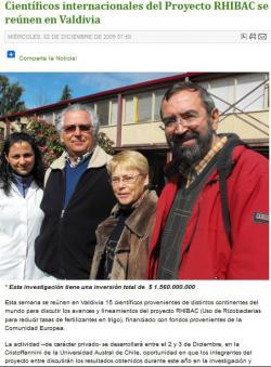 Científicos internacionales del Proyecto RHIBAC se reúnen en Valdivia